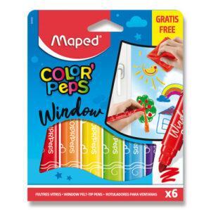 Fixy Maped Window na sklo - 6 barev + hadřík - MVhracky.cz