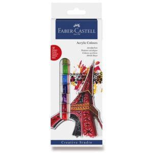 Akrylové barvy Faber-Castell - 12 barev - MVhracky.cz